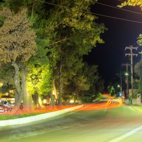 Road near Agia Paraskevi at night