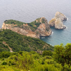 View of the Kastro at the nord end of Skiathos