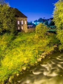 Baalsbruggermolen aan de Worm bij Nacht