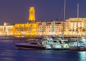 Bari Port at Night with some yachts