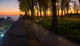 Zonsondergang op het terras van Bergamo Alta