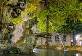 Fontana della Fiera Bergamo bij nacht - detail