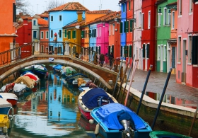 Burano colorful canal with bridge