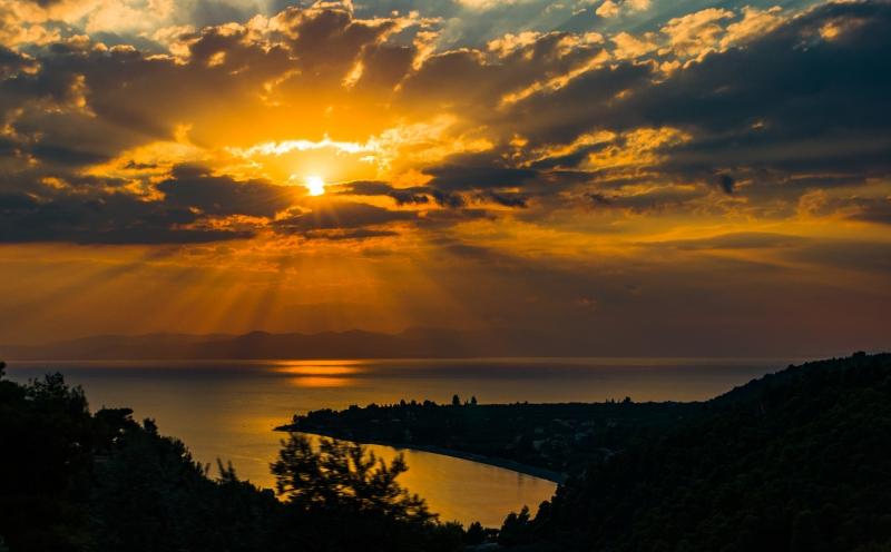 Zonsondergang op Euboea