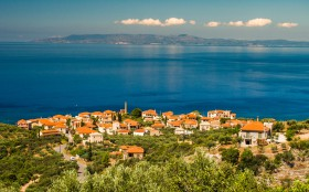 Kardamili Panorama with Koroni in the background