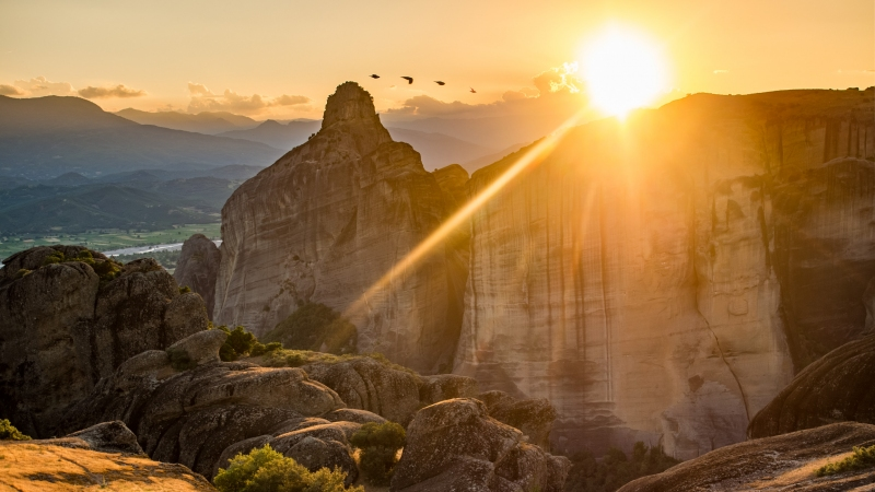 Meteora - Zonsondergang