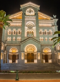 Monaco Cathedrale Saint Nicholas Night