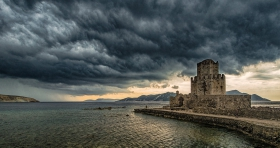 Venetian Fortress of Methoni, Peloponnese under dark thunderclouds