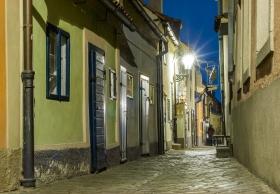 Gouden straatje van Praag bij nacht