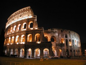 Illuminated Colosseo in Rome
