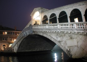 Bridge over Rialto River in Venice, illuminated